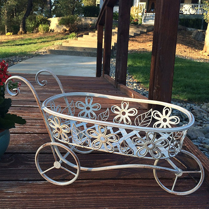 Antique White Iron Race Track Wheelbarrow Shaped Basket and Planter Holder