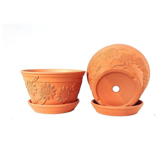 Raised Sunflower Embellished Natural Terra Cotta Garden Pots with Trays