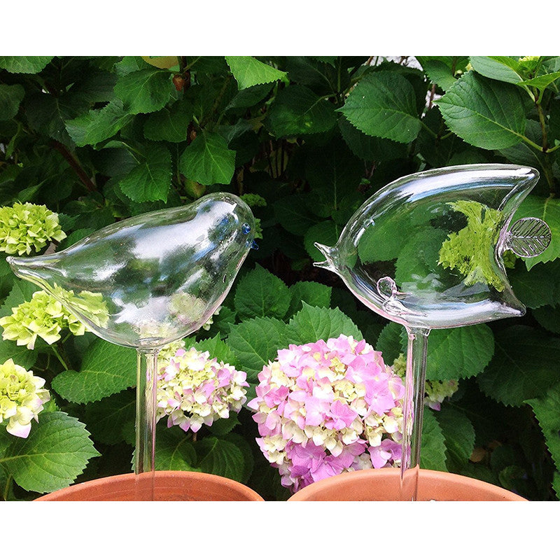 Set of 2 Hand Blown Glass Self Watering Globes Angel Fish and Bird Spikes