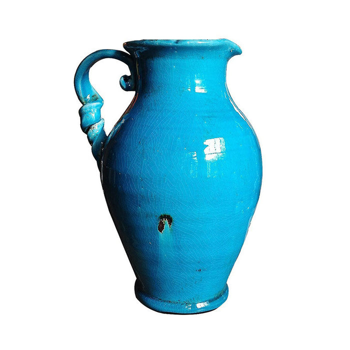 Vintage Hand Thrown Heavy Water Jug with Twisted Handle.
