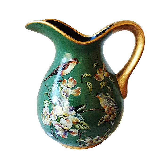 Ceramic Decorative Beautiful Vintage Green Curved Pitcher or Vase