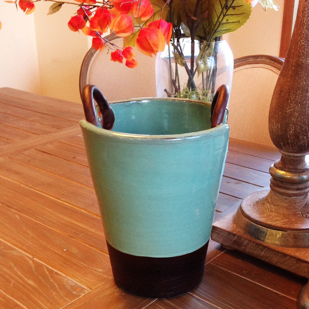 Hand-thrown Ceramic Glazed Vase or Storage Container with Looped Handles