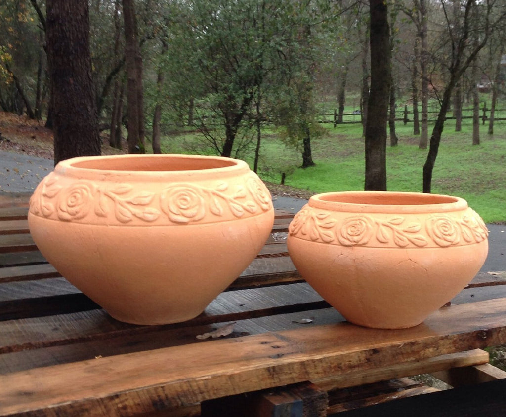 Heavy Hand Pressed Ancient Terracotta Round Flower Planter Available in Two Sizes.