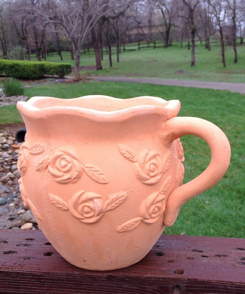 Heavy Hand Pressed Ancient Stressed Terracotta Shaped Pitcher Flower Pot