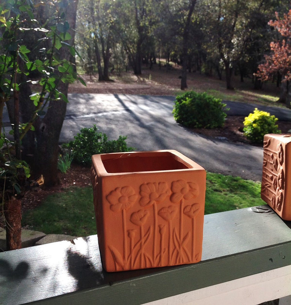 Set of 2 Natural Colored Terracotta Flower Encrusted Square Shaped Planters