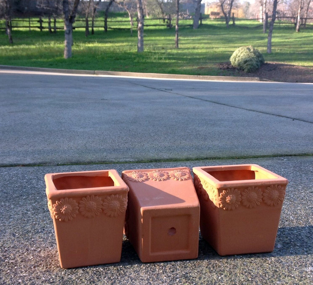 Set of 3 Natural Terra Cotta Flower Embellished Square Shaped Garden Planters with Drain Holes