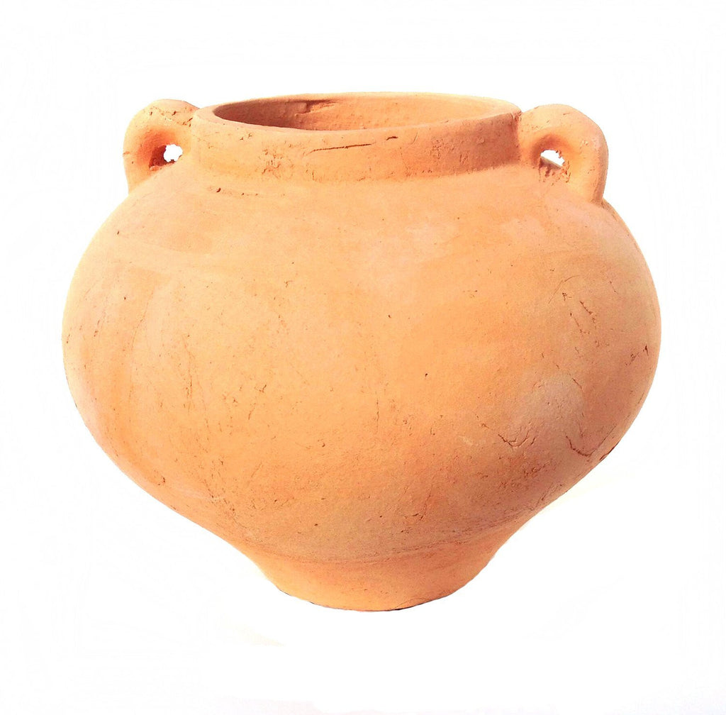 Heavy Hand Pressed Ancient Terracotta Round Flower Pot 2 colors available.