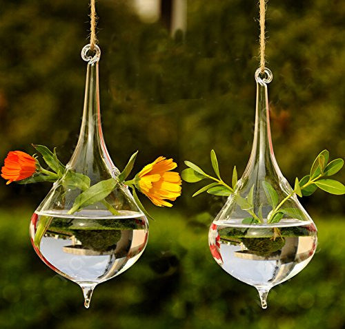 Set of 2 Beautiful Hand Blown Teardrop Shaped Hanging Glass Planters