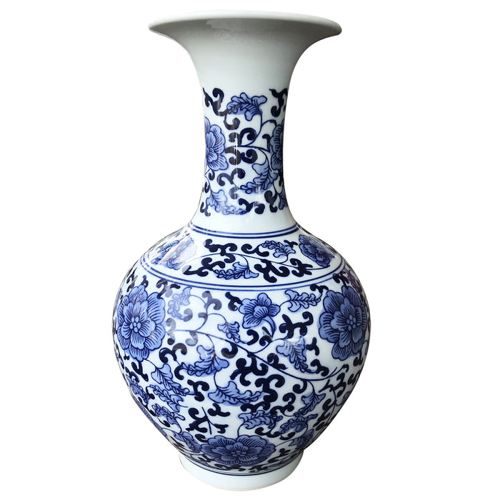 Classic Blue and White Floral Traditional Porcelain Decorative Vase