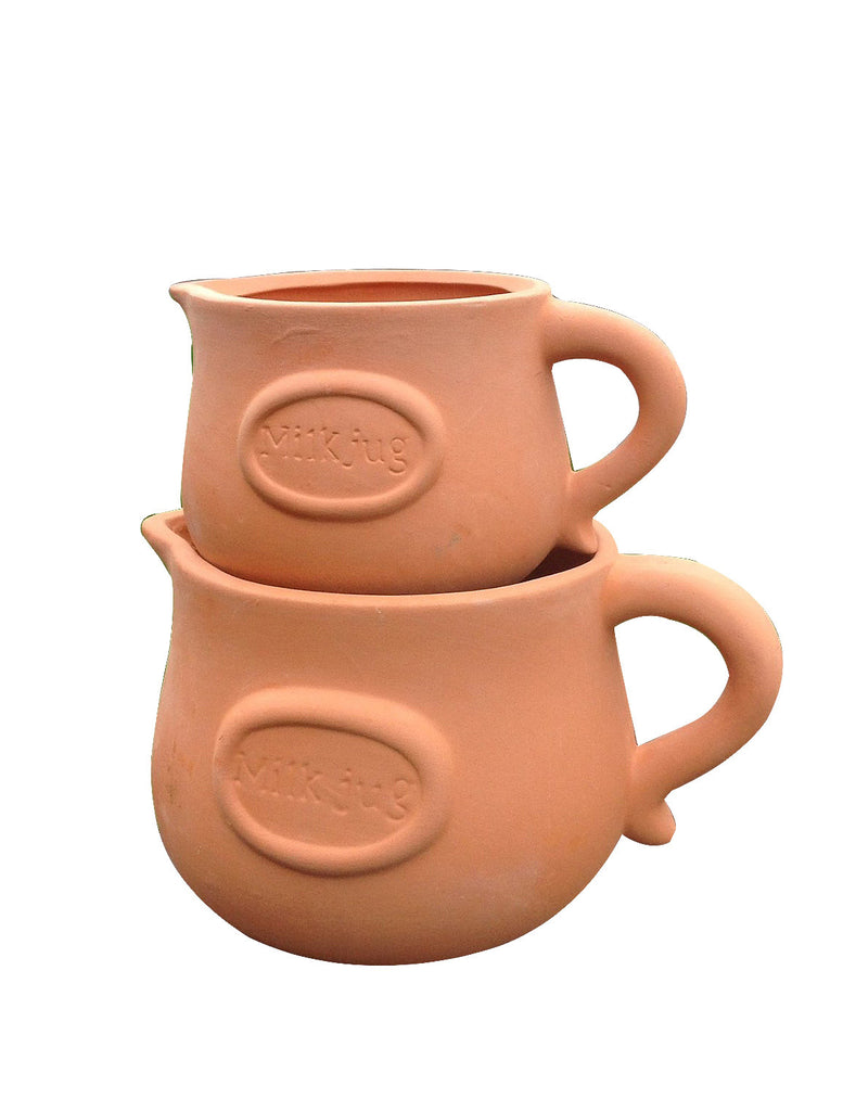 Set of 2 Different Sized Terracotta 'Milk Jug Badged' Planter