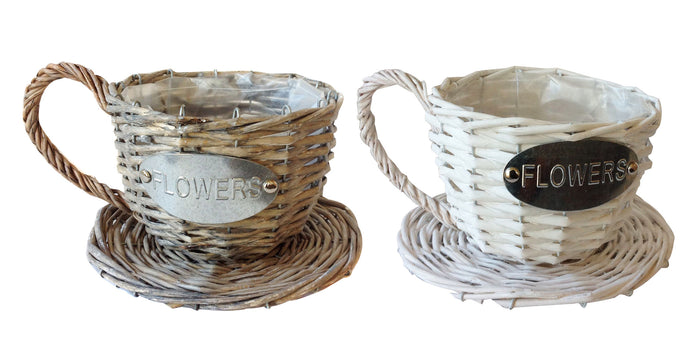 Handmade Wicker Coffee Cup Shaped Basket or Planter for Indoor Use, 2 colors available
