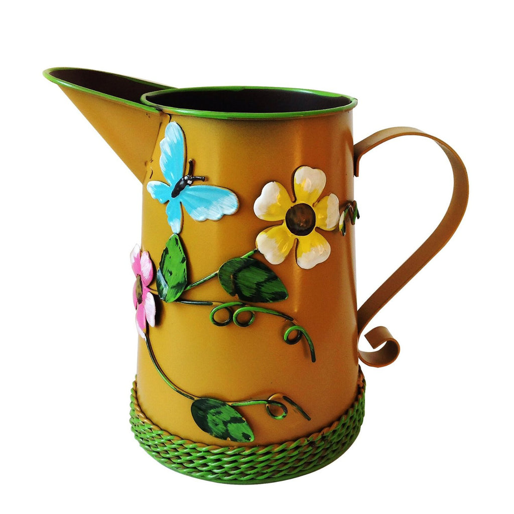 Country Chic Metal Watering Can with Raised Ladybug and Floral Highlights