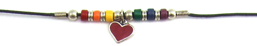 Heart Charm Necklace w/ Rainbow Beads