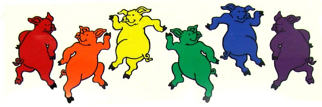 Rainbow Dancing Pigs Bumper Sticker