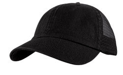 KNP Garment Washed Cotton Twill Mesh Back Cap Black