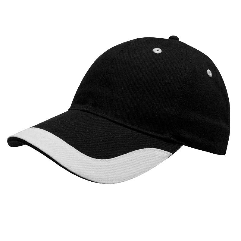 KNP U-Visor Chino Twill Cap Black/White