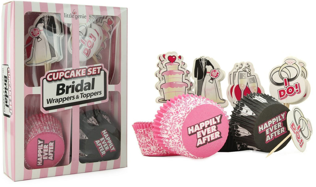 Cupcake Set Bridal Wrappers & Toppers