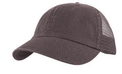 KNP Garment Washed Cotton Twill Mesh Back Cap Grey