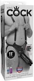 "King Cock Strap-On Suspenders Harness with Hollow Double Dong, 11"", Black"