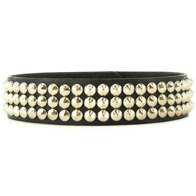 Petite Triple Cone Studded Black Leather Collar