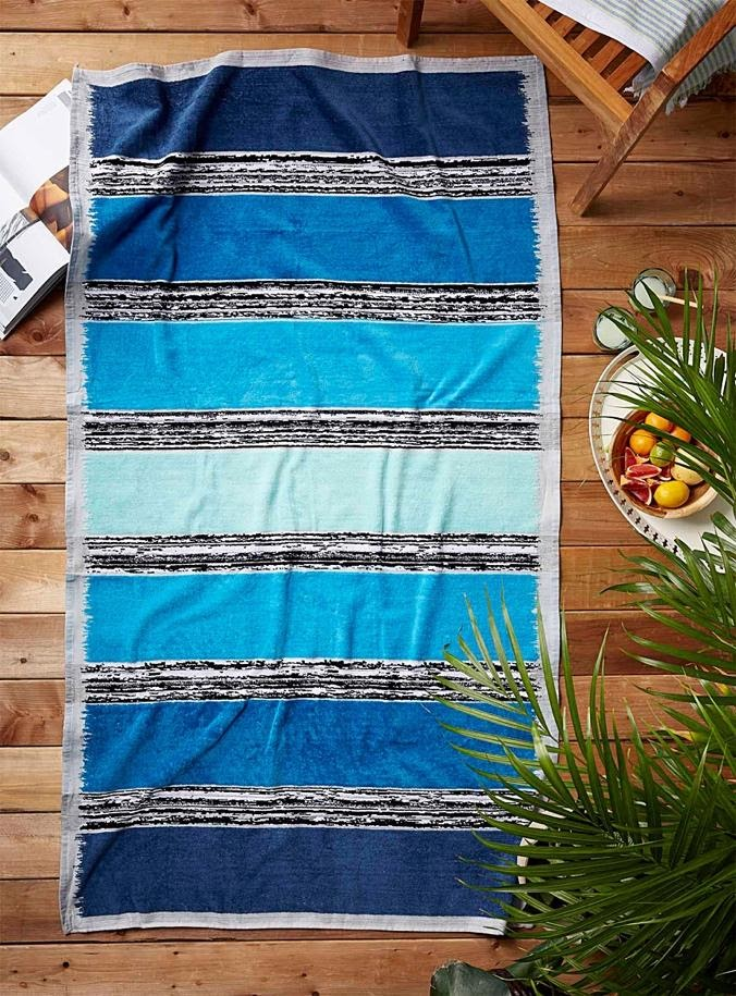 Extra large striped blue beach towel