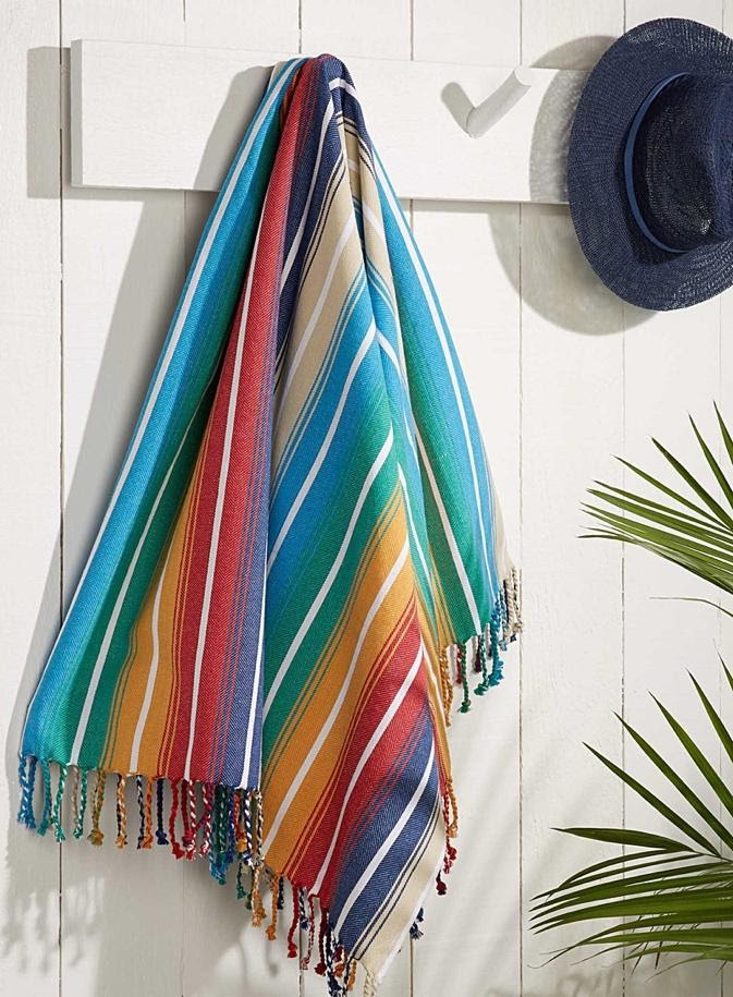 Colourful striped Mexican style picnic blanket
