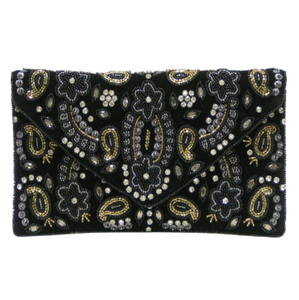 Black & gold envelope shoulder bag
