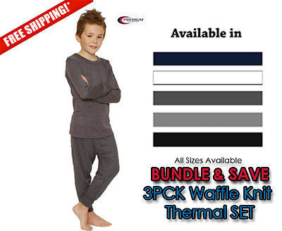 Boys Waffle Knit Thermal Underwear 2pc SET Pack of 3
