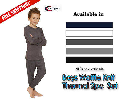 Boys Waffle Knit Thermal Underwear 2pc Set