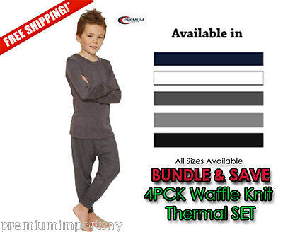 Boys Waffle Knit Thermal Underwear 2pc SET Pack of 4