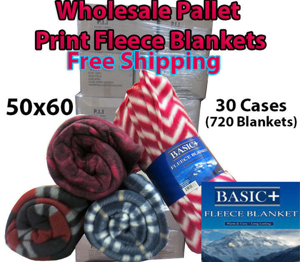 Fleece Print Throw Blankets 50x60 WHOLESALE Pallet of 30 cases (24 per case)