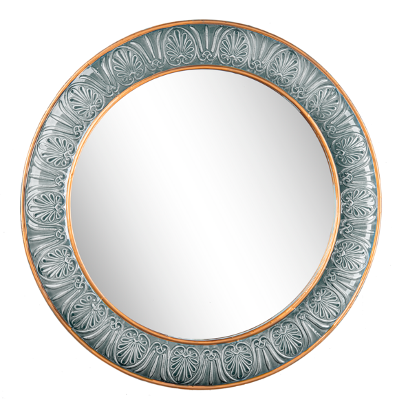 "30"" Embossed Blue & Gold Framed Wall Mirror"