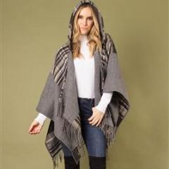 Plaid Hooded Wrap