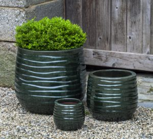 Green Ribbed Planter