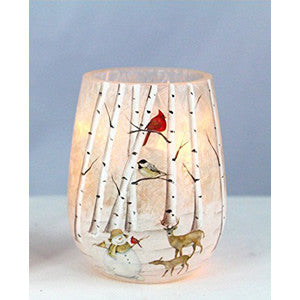 Handcrafted Lighted Winter Scene Vase