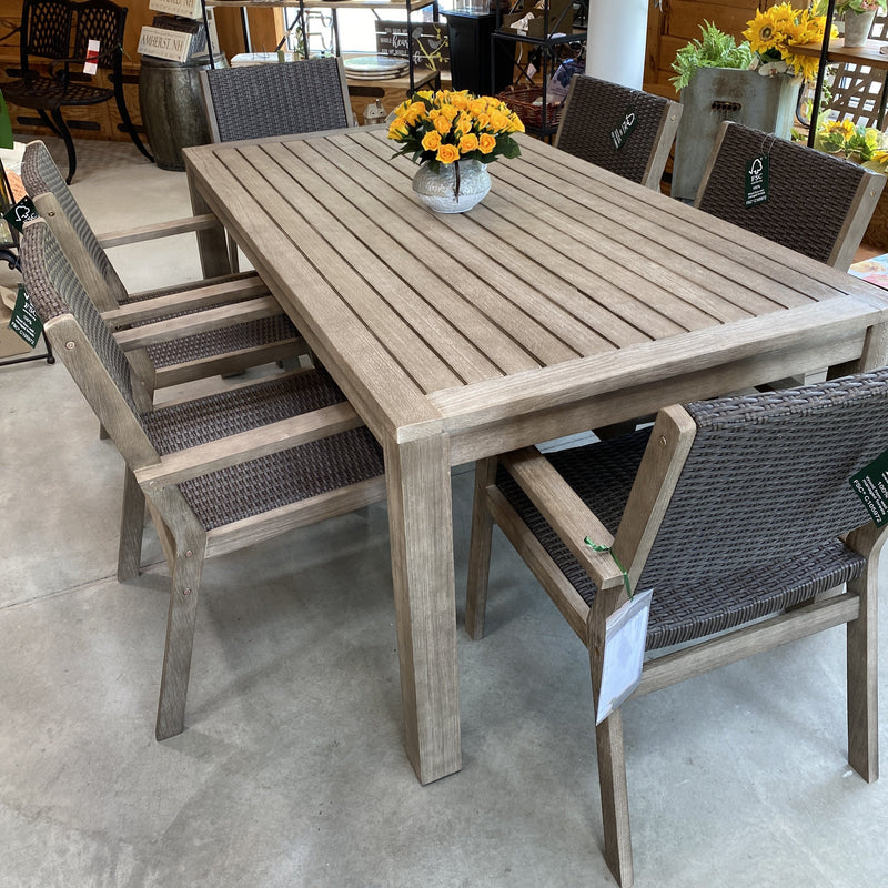 7 piece Eucalyptus Wood & Wicker Dining Set