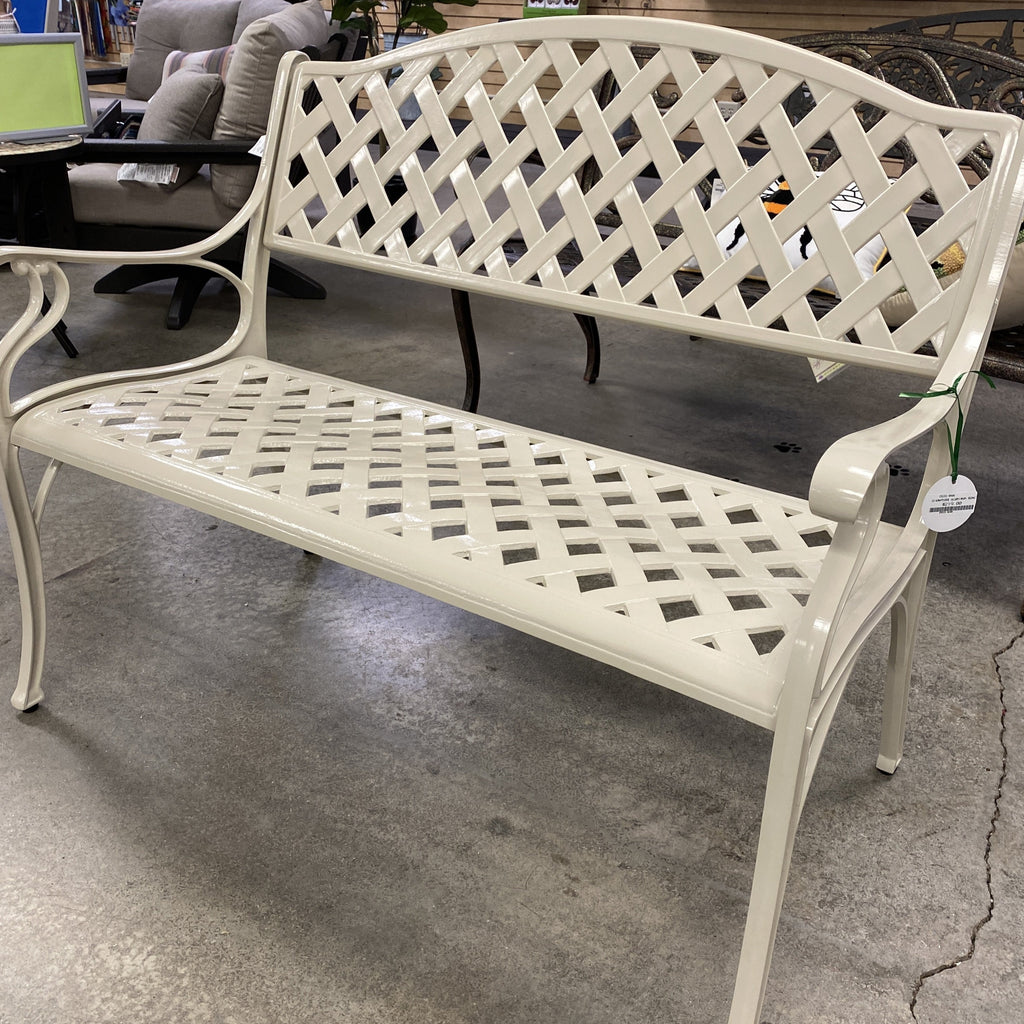 "43"" Aluminum Basketweave Bench"