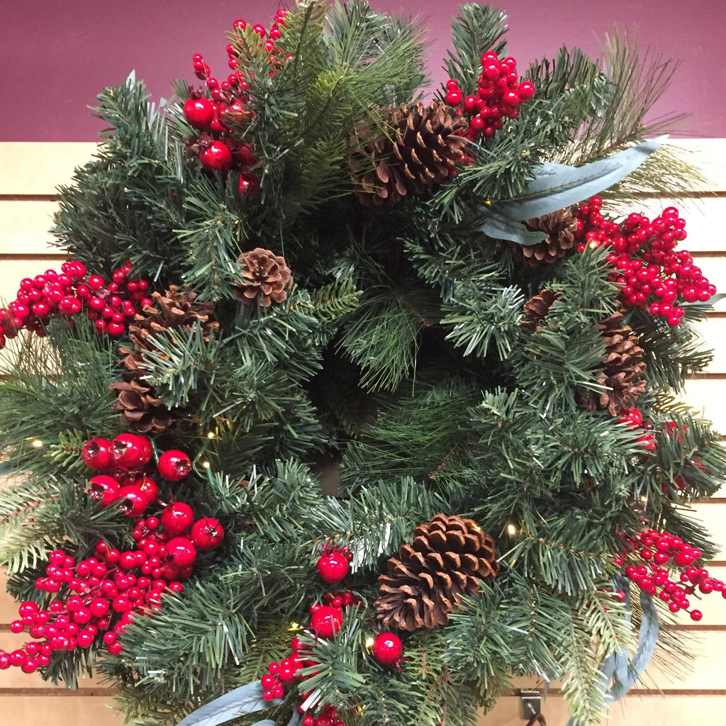 "26"" Lighted Wreath with Mixed Greens, Cones & Berries"
