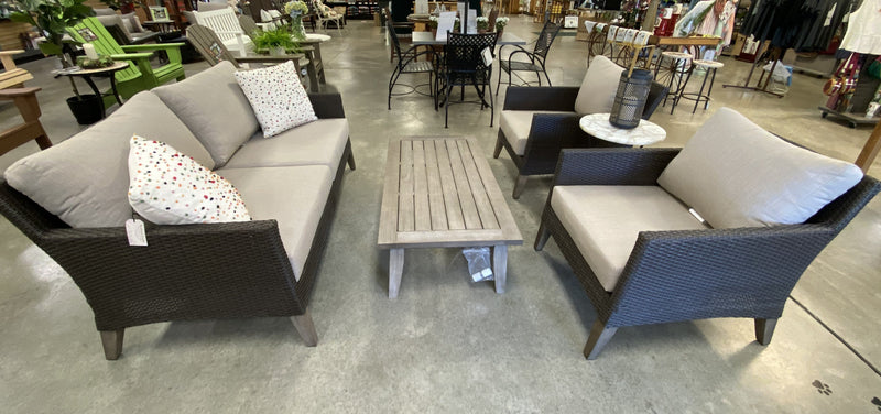 4 piece Eucalyptus Wood & Wicker Lounge Set