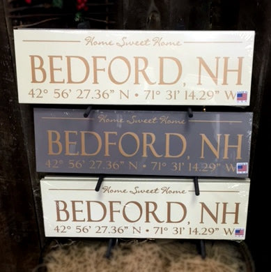 Bedford NH Longitude & Latitude Wooden Sign
