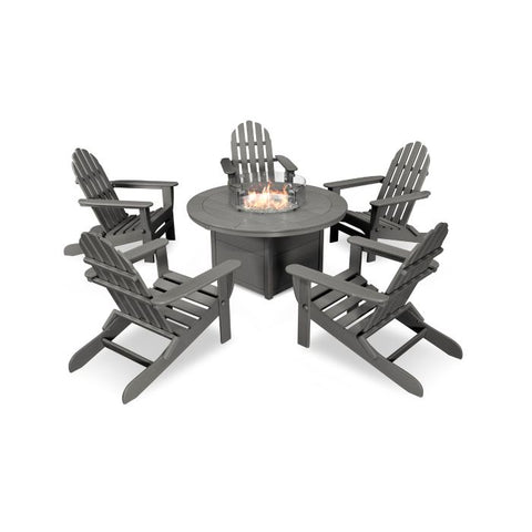 Fire Pit Table with 5 Folding Adirondack Chairs by Polywood