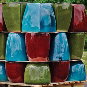 Glazed Planters:  Assorted colors and shapes