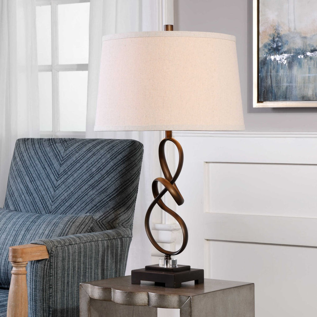 "27"" Twisted Steel Table Lamp"
