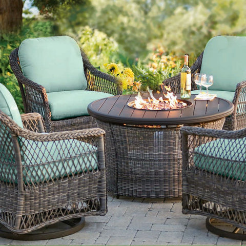 "42"" Round all-weather Wicker Fire Table"