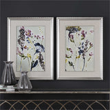 Set of 2 Parchment Flower Field Framed Art