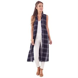 Women's Navy Button Down Duster