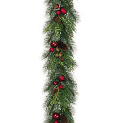 6' Mixed Greens and Ornaments Artificial Garland
