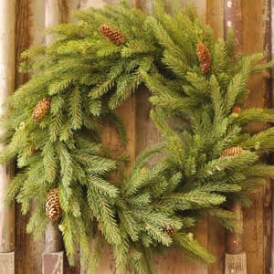 "22"" White Spruce Wreath with Cones"