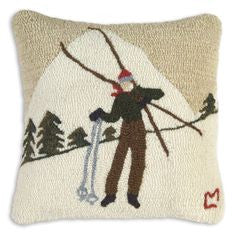 "Hand Hooked Wool Pillow 18"" Square"