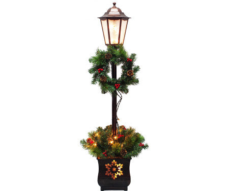 4' Lighted Lamp Post with Greenery
